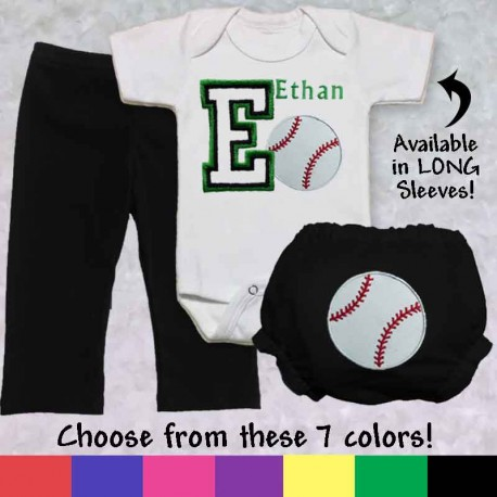 Personalized Baseball Baby Outfit
