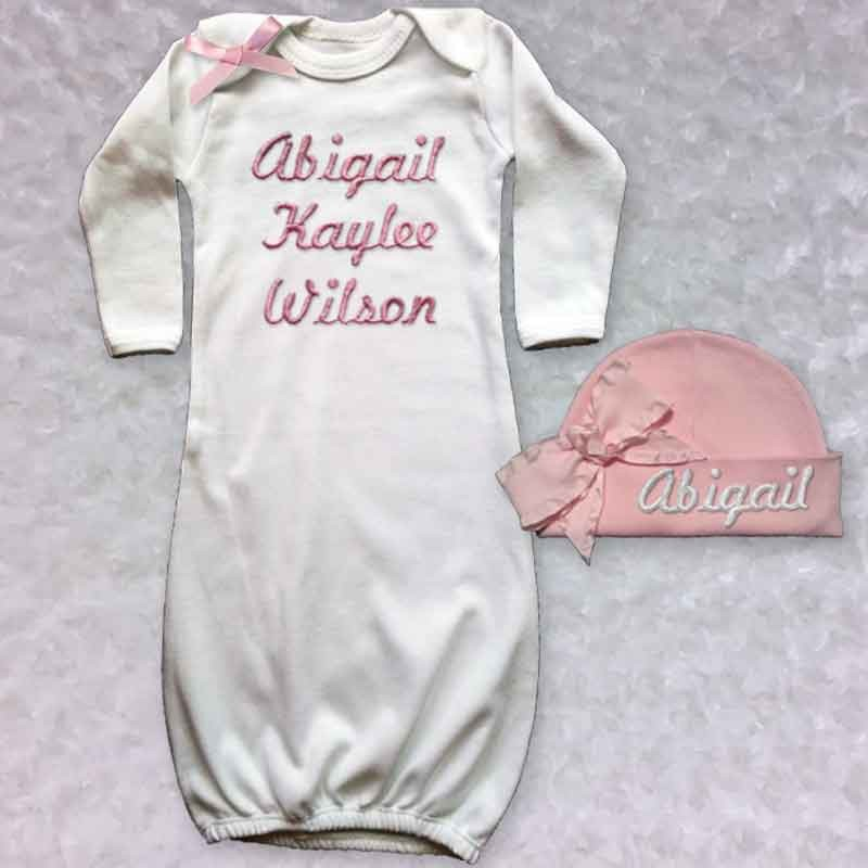 Personalized Newborn Baby Girl Gown - Lucky Skunks Baby-Toddler Clothes