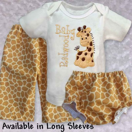 cute cuddly yellow giraffe baby outfit