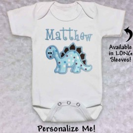 Cute Blue Dinosaur T-shirt or Baby Onesie