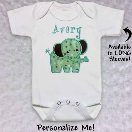 e2442d312 Cute Green Elephant T-shirt or Baby Onesie - Lucky Skunks Baby ...
