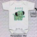 Cute Green Elephant T-shirt or Baby Onesie