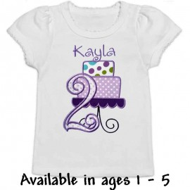 Personalized Purple Birthday Cake Toddler Shirt