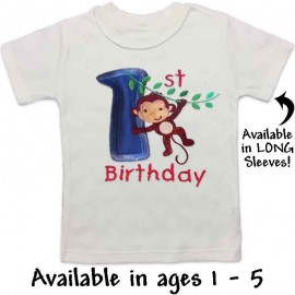 Blue Birthday Monkey T-shirt