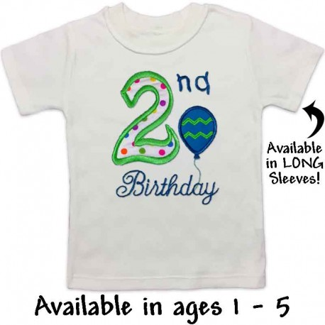 2nd Birthday T Shirt With Balloon