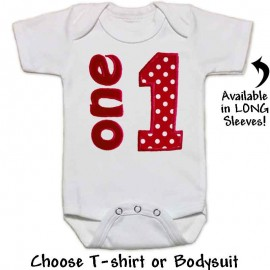 Red Polka Dot 1st Birthday Onesie