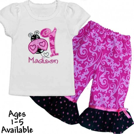 Pink Ladybug First Birthday Girl Outfit