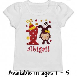 Red Birthday Monkey T-shirt