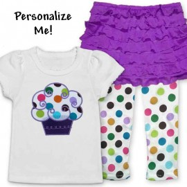 Cute Ruffle Skirt Cupcake Baby Outfit-Purple