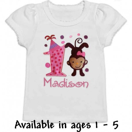 Pink Birthday Monkey T-shirt