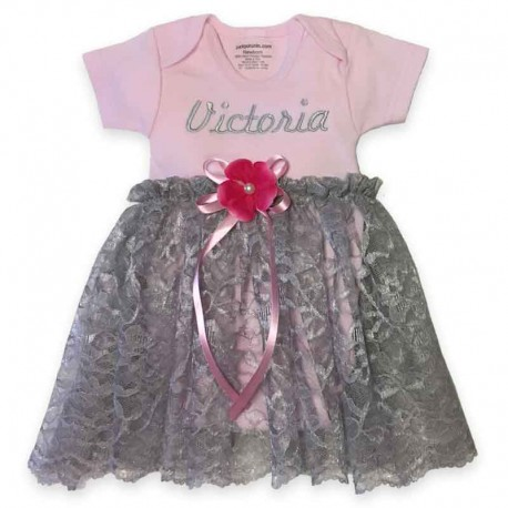PInk and Gray Lace Onesie Baby Dress