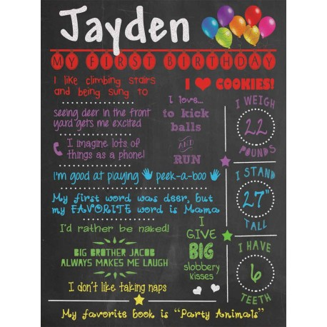 All About Me! 1st Birthday Chalkboard Poster
