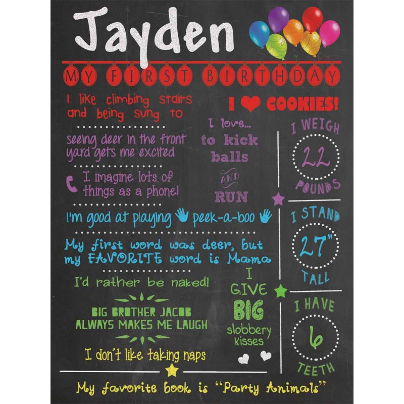 All About Me 1st Birthday Chalkboard Poster Lucky