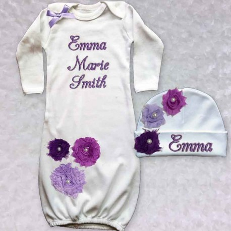 Purple Shabby Chic Baby Gown