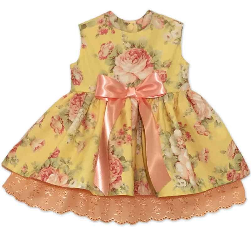 985bc97e4594f Yellow and Peach Baby Dress - Lucky Skunks Baby-Toddler Clothes