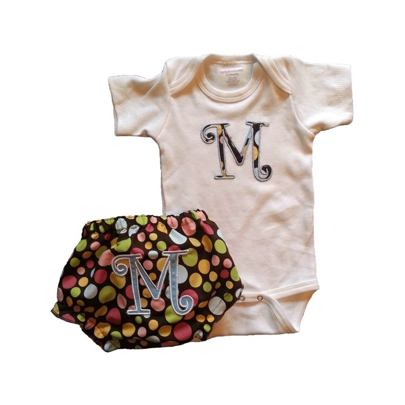 Custom applique polka dot baby outfit for Baby onesie t shirt