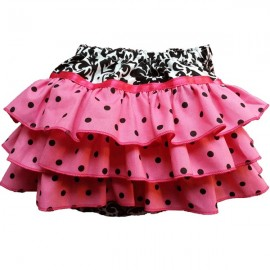 Pink Polka Dot Damask Ruffled Baby Bloomers