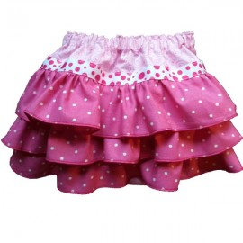 Pink Polka Dot Ruffles on Ruffles Baby Bloomers