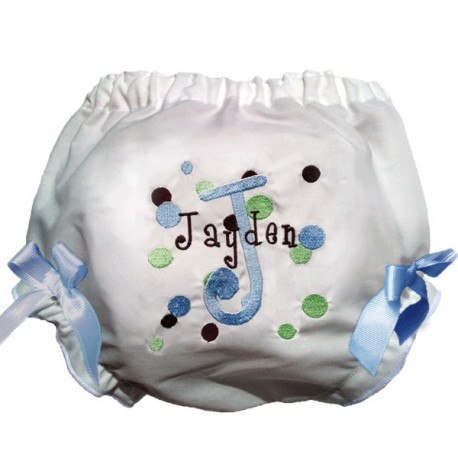 Personalized Blue Dots Baby Bloomers