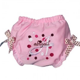 Personalized Pink Baby Bloomers with Dots