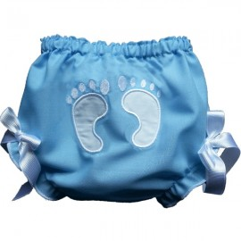 Stinkin' Cute Baby Footprints Bloomers - Blue