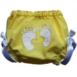 Stinkin' Cute Baby Footprints Bloomers - Yellow