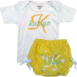 Personalized Yellow Baby Outfit