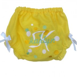 Personalized Yellow Dots Baby Bloomers