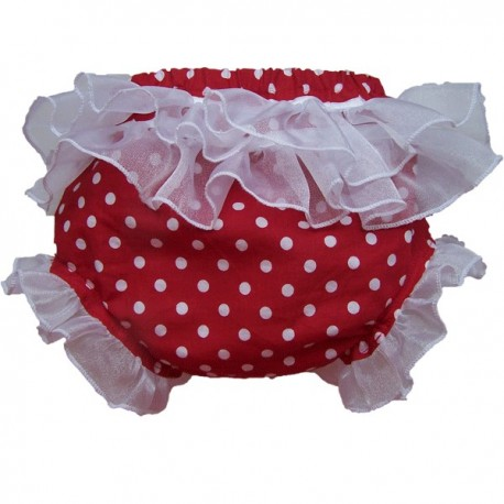 Red and White Polka Dot Ruffled Baby Bloomers