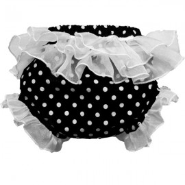 Black and White Polka Dot Ruffled Baby Bloomers