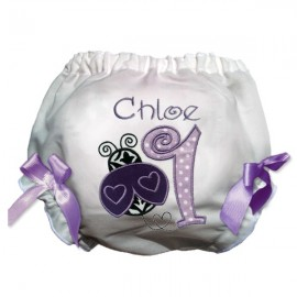 Purple Ladybug First Birthday Baby Bloomers