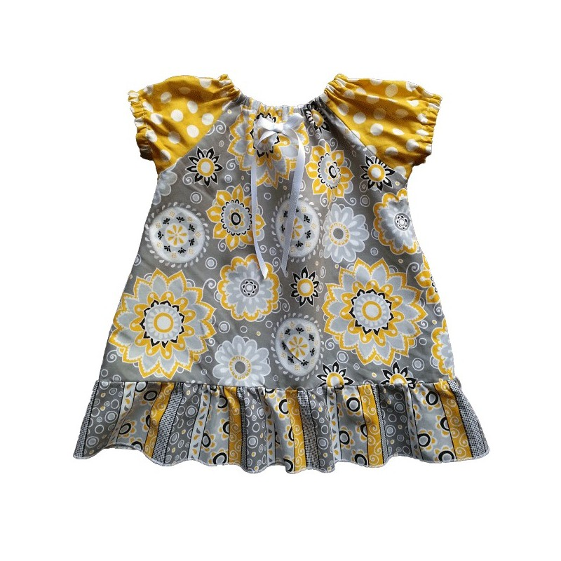 Golden Yellow Gray White Baby And Toddler Dress